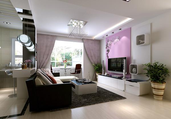 客厅电视背景墙用粉色调装扮,增添了新婚的浪漫感;阳台设计为小的休闲区域,阳光明媚的时候一起坐着喝喝茶聊聊人生理想。