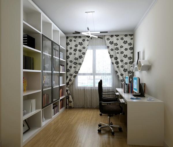 书房色调也是黑白色的,白色的壁柜摆放男女主人的书籍资料,书桌做成双人的,小夫妻两可以一起玩耍休闲。