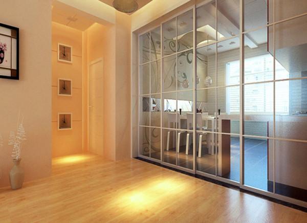 餐厅和厨房融为一体,简洁大方,大面积的玻璃推拉门使空间大而不空