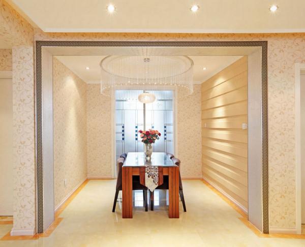 餐厅区为避免空间紧缩问题,在墙面设计条形石膏板装饰,让居住者在就餐的时候不会感觉空间压抑。将原客厅阳台打开,扩充客厅空间。