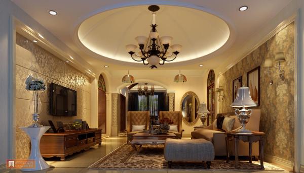 客厅:以独特的圆型吊顶,彰显不一样的品质,以金碧辉煌的墙壁,精致的壶型台灯,高端长式沙发,独享贵族生活