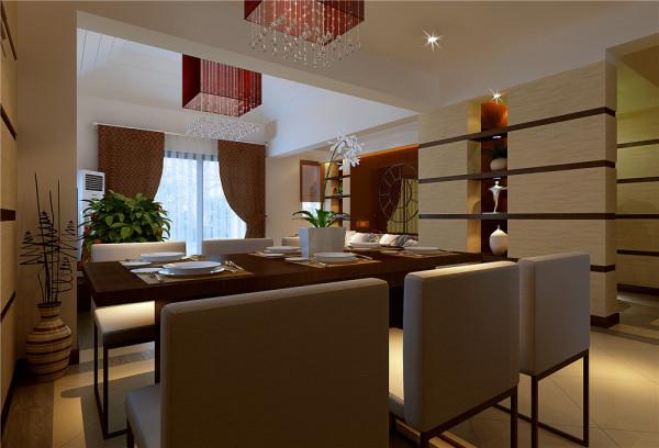 利用地面铺装及墙面颜色的区分将整个空间划分为客厅与餐厅两个区域。 亮点:直线条的排列增强了空间的秩序美。