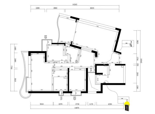 名雕装饰设计——凤凰山公园三居室——户型图