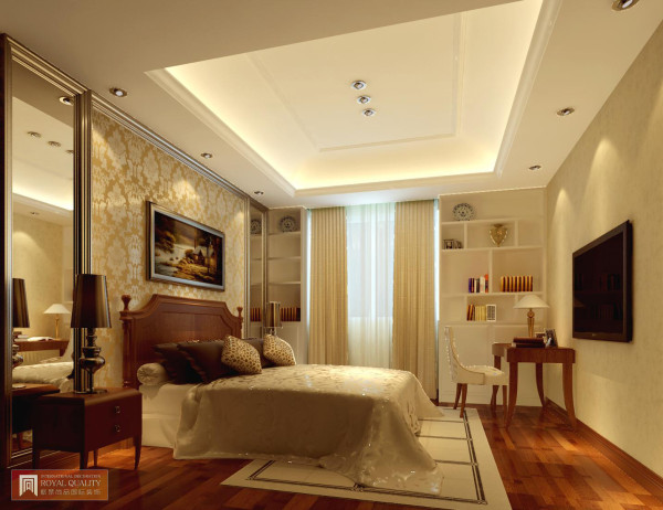 卧室:以白色为主,金色图案点缀,装修设计中为方便业主在室内添加书桌书柜,用于工作与学习。