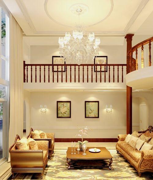 会客厅以宽敞大气为设计要素,兼顾欧式布艺沙发来凸显舒适感。欧式古典与美式休闲的结合。