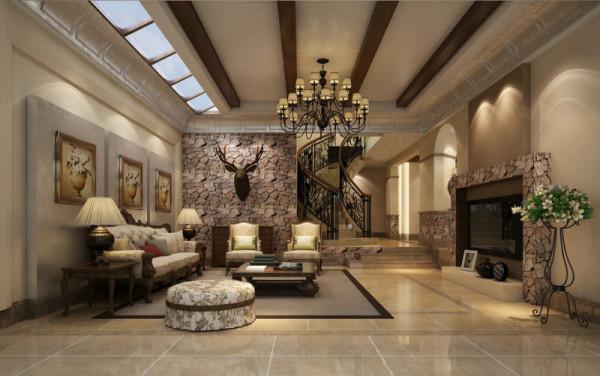 中式与现代结合,背景以仿古专做成砌石效果,与自然想融合。