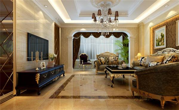 一层客厅为现代欧式风格,大气、奢华为主基调,不要过多累赘复杂的造型,体现了主人的内蕴品性。沙发造型是欧美的皮质家具,稳重又奢华。