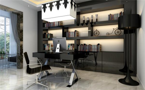 书房里时尚的吊灯是否也给你带来不一样的感觉呢?一进门,你就会感受到房里漂泊又随性的气息,这里选用的是金属色书桌,不需要庄重,需要的仅仅是几分轻快,几分时尚,可以让主人释放心灵的感觉。