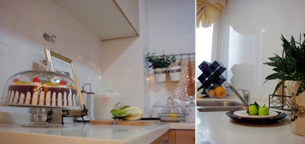 厨房空间生活气息浓郁,台面上的餐具厨具,以及蔬菜水果的摆放,都能反映出居家生活的美妙。