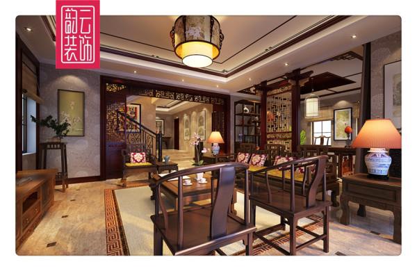 中式新中式古典别墅客厅卧室厨房装修效果图片_装修美图片