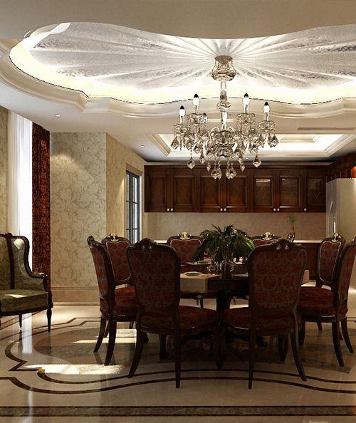 尚层装饰案例分享:宽敞明亮的就餐空间,浪漫而典雅的吊顶与吊灯,配合暗花色的餐椅布艺,真正做到低调的奢华,精致的浪漫。