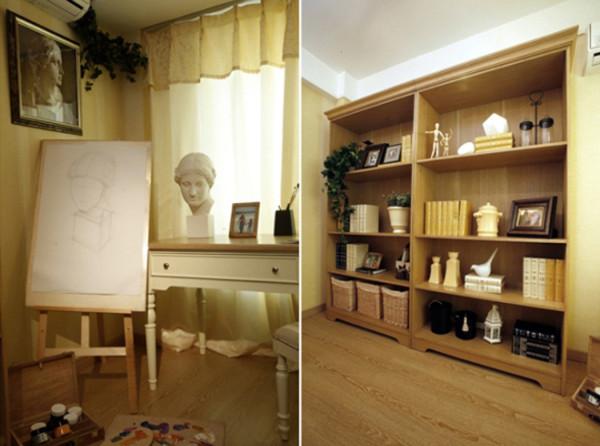 书柜选用橡木色漆面效果,使整个空间沉稳大气。