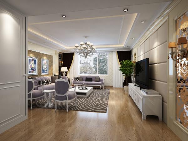 客厅:在注重装饰效果的同时,用现代的手法和材质还原古典气质,以软包装饰的电视背景墙将整个气氛印衬的高贵又不失温馨,灰色的使用使得整个空间的品质得到很好的体现。