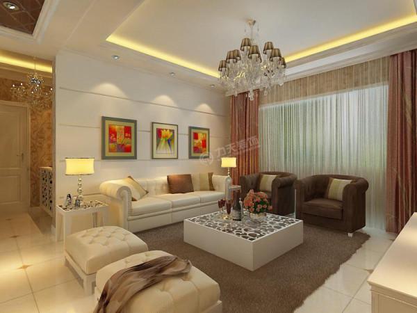 沙发背景墙则用了简单的石膏板拉缝,并挂了组画,给墙面做个装饰,充分迎合了简欧的风格。