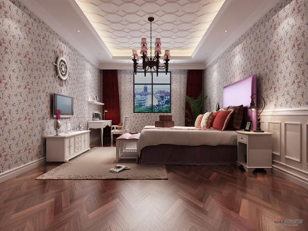 一看便感觉像为女生准备的卧房,简洁、浪漫