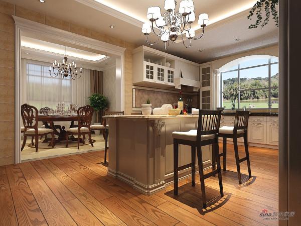 实木地板 米黄色瓷砖配上白色,整个餐厅感觉干净整洁