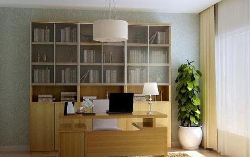 淡蓝色暗纹壁纸衬托书房家具和原木色地板,营造出清爽自然的悦读氛围。