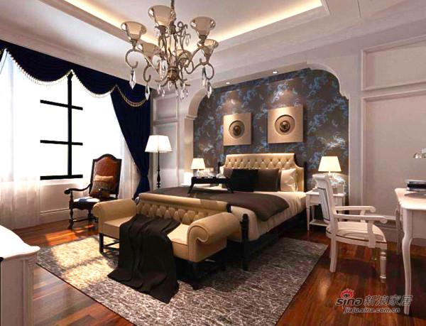 纯白色的墙面,加上深蓝色的窗帘,房间内敛、大气