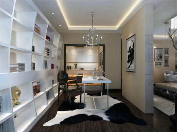 书房的书柜个性化的不规则格局与曲线分割,是整个空间的亮点,LED小小的点光源筒灯与装饰的吊灯点亮这个居于家中的第二空间