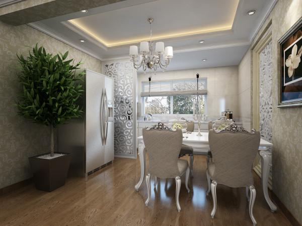 餐厅:半开放式的厨房设计,镂空的屏风设计以及浅色的基调让餐厅充满了高雅明亮的感官体验,既有凹凸感又不乏优美的弧线。