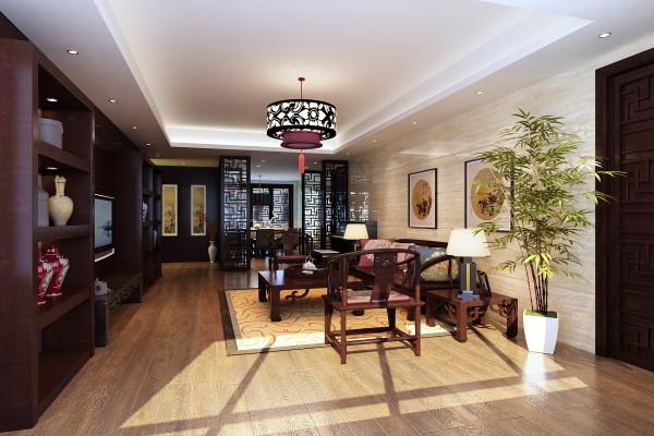 客厅和餐厅敞开为一体,中间用镂空木质隔山,视觉更加开阔。居室的颜色比较厚重,充满了深厚的文化底蕴。