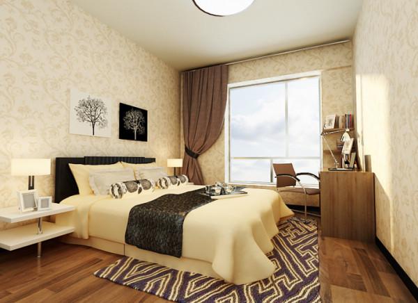 墙面壁纸及原木色地板都有很强的自然气息。