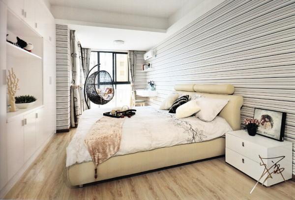 80平米极致简约婚房-卧室