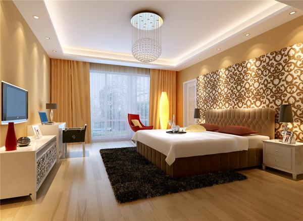 为呼应暖色的木地板及墙面漆,设计采用驼色的窗帘作为装饰,增添了卧室温馨的氛围。