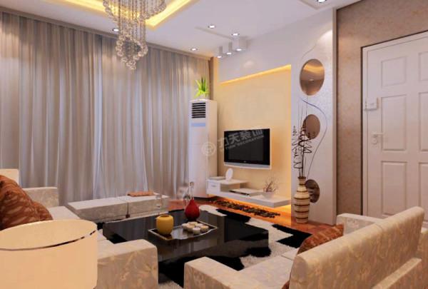 个性的电视墙,家具都是时尚大气的。没有复杂的造型,整体色调温馨,充满温暖气息。
