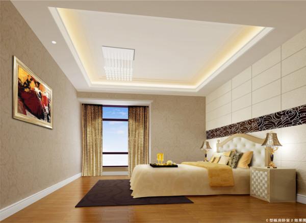 设计理念:主卧作为业主休憩的场所,已不再需要过多的装饰,浅色、大地色的运用让它回归至身心放松的圣地,提高质量睡眠。