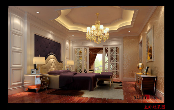 名雕设计——主卧室:高档材料和金色调透出高贵,华丽的气质.