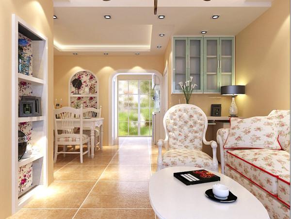 客厅设计理念:大方、合理、实用 亮点: 客户喜欢韩式田园的白色家具和复古的色调,白色的家具、米黄色的墙面颜色搭配
