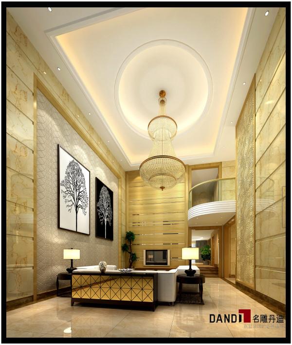 名雕丹迪设计——客厅:采用中性的米黄色与米棕色,大块面造型,拼合而成美国RE木,清晰的视觉效果带出室内无可比拟的风格