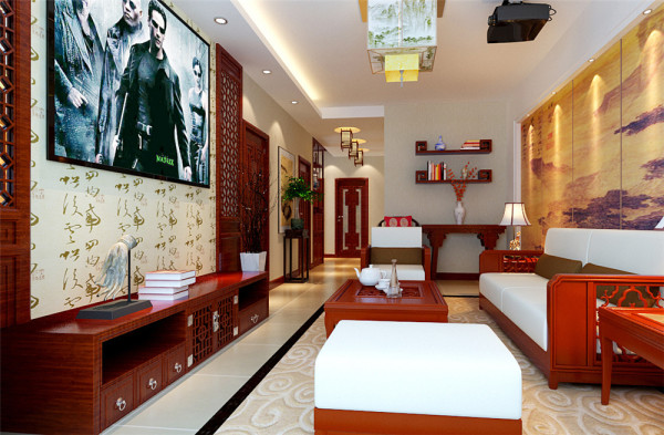 客厅设计以简单的造型设计,用中式元素加以点缀,如中式壁纸和花窗格扇有机结合,使中式文化的底蕴得到传承和创新。 亮点:花窗格栅相配壁纸的背景墙和沙发水墨壁画交相辉映。
