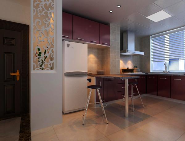 厨房是家居生活的心脏,不仅要美观,更重要的实用性,整体性。厨房的灯光很重要既不能太强又不能太弱,灯光则以温馨和暖的黄色为基调,顶部做了简单的吊顶。在橱柜上加出了一个吧台面,可以增加以下厨房的情调。