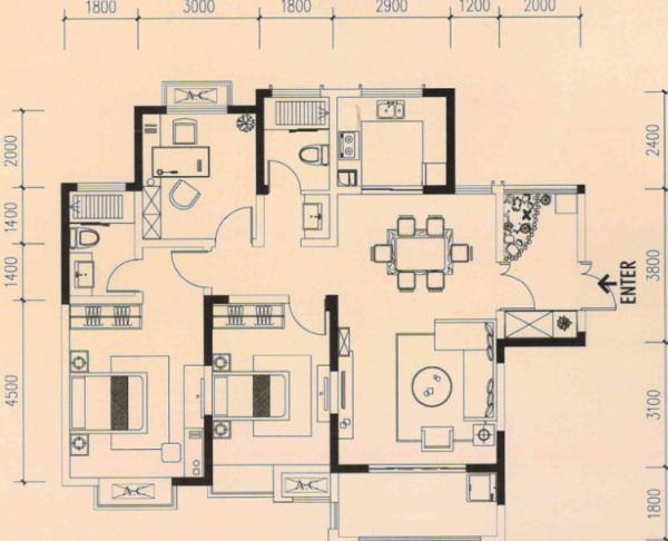 海棠湾128㎡装修设计案例 原始房型图