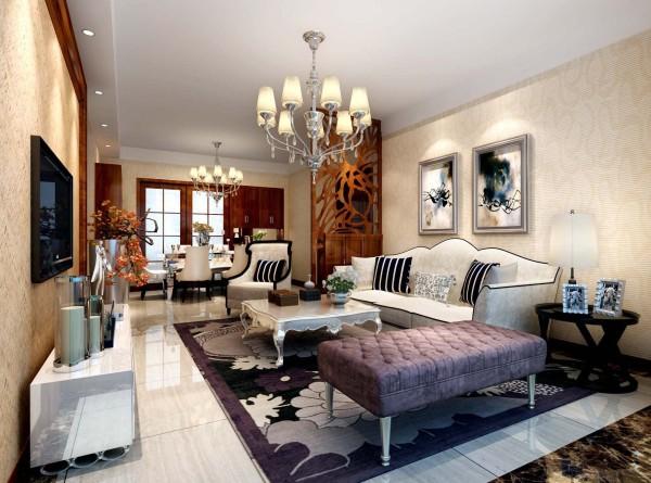 海棠湾128㎡装修设计案例 客厅效果图,地面铺地砖。