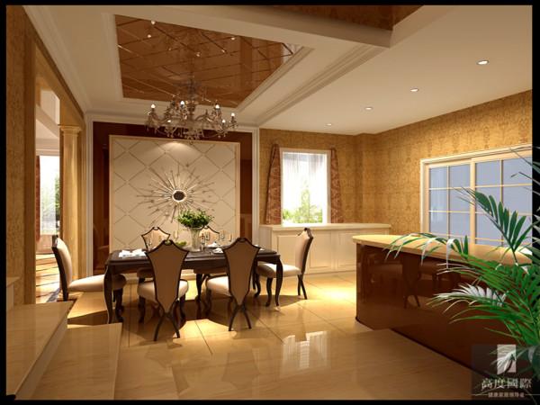 一层主人作为开放式的厨房,使室内的空间显得更通透,自然,明亮,酒水边柜在功能上解决了储物,更增加了美观的效果,满足了主人的需求