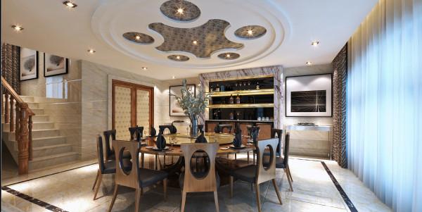 餐厅的环境设计重要的就是就餐环境的营造,实际风格要与整个居室风格一致协调。本案的餐厅设计亮点是木板装饰背景墙,与客厅木板天花的设计合二为一,相互呼应。