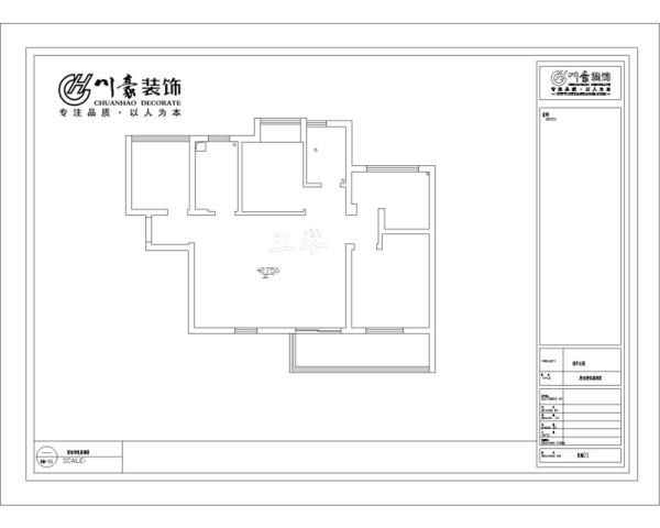 铂金汉宫90㎡实用装修设计 原始的房型图,合肥装修公司。