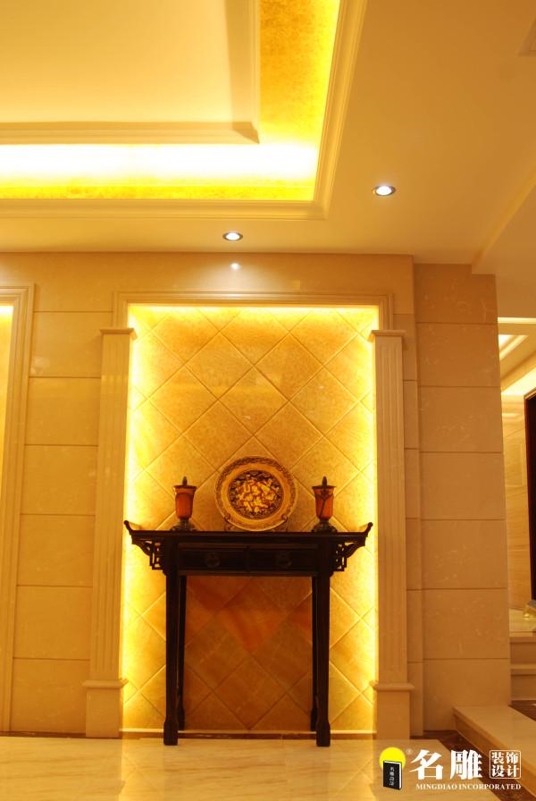 名雕装饰设计—简欧—玄关:以精宫玉石作为材料,显得低调而奢华。