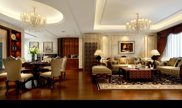 合肥融侨官邸110㎡欧式装修设计 客厅与餐厅效果图,地面实木地板,做了吊顶,墙面采用墙纸设计。