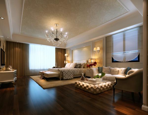主人房的设计,也主要用的皮纹的艺术砖,代替了客户想要的墙纸,整个看上去特别的暖和与温馨。