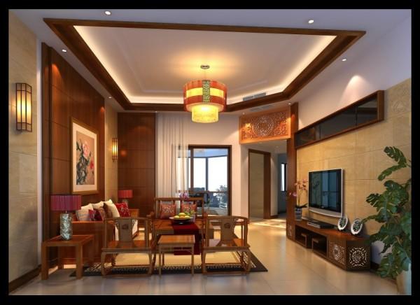 翡翠城-150㎡中式风格-客厅装饰效果图