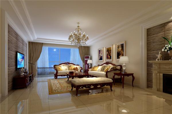 客厅采用双层石膏板吊顶,增加房屋层次立体感,使之整个空间得到向上的拓展,在层与层之间利用石膏线的过度,增加了空间的曲线美,在天然大理石的背景墙与古典家具的衬托下,整个空间突显奢华,典雅。