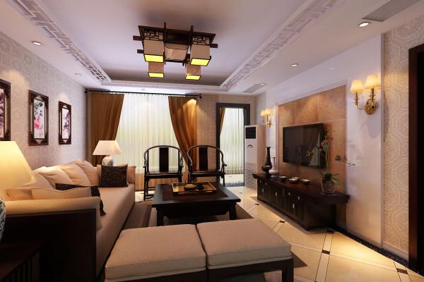 整体色调浅色、暖色,加上中式红色,电视墙采用烤漆板与中式壁纸完美搭配,墙面配以特色装饰画框。透露出中式韵味。