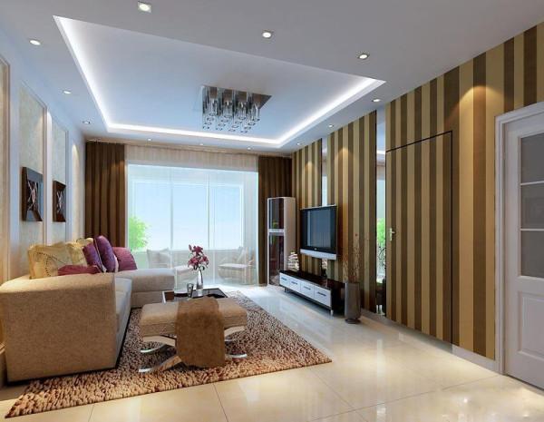 客厅里选用简洁的装饰来营造出我们的一个装饰效果,条纹的墙纸延伸了客厅的空间视觉感,浅色的搭配让整个客厅显得更加地通透