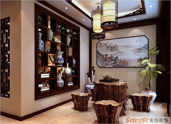 郑州实创装饰-马渡新村190平复式-茶室效果图
