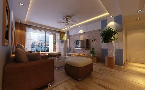 客厅选用强化地板,液态壁纸装饰的个性背景墙,房主是很注重生活品质