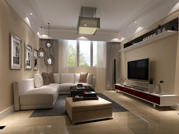 客厅是主人品味的象征,体现了主人品格,地位,也是交友娱乐的场合,电视背景墙采用暖色墙漆和简单装饰配上顶部照下来的灯光,整个电视背景墙把客厅提升起来。
